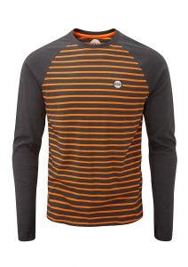 Men's Striped Long Sleeve Charcoal/Orange