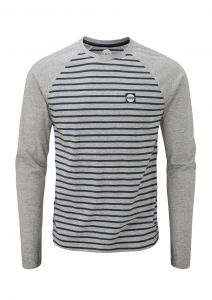 Men's Striped Long Sleeve Grey Marl/Indigo