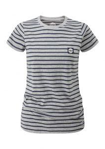 Women's Striped Tech T-Shirt Grey Marl/Indigo